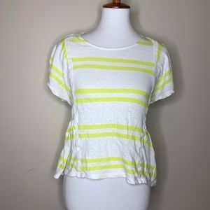 Postmark Anthropologie yellow striped blouse xs